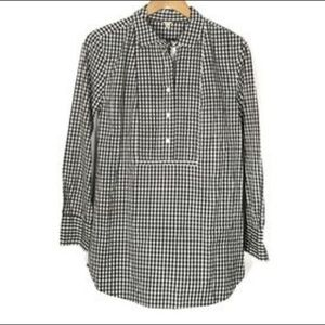 J. Crew Gingham Long Sleeve Popover Tunic